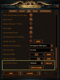 Path of Exile Item Filter options